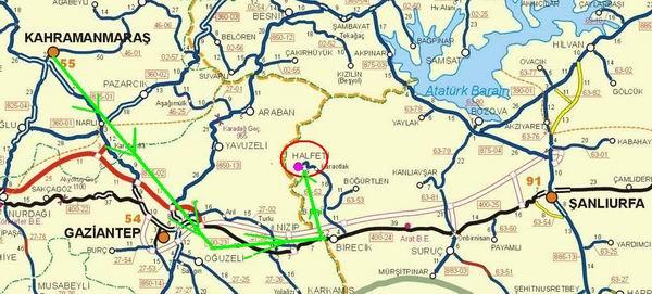 Image result for şanlıurfa gaziantep haritası